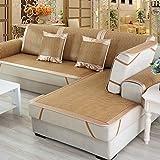 TT&CC Asciugamano di divano in rattan,Estate stuoia chaise longue impermeabile soggiorno facile cura antiscivolo combinazione divano divano semplice custodia-D 60x90cm(24x35inch)*2
