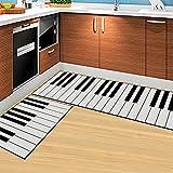 Amyove Exquisito Estera Antideslizante de impresión Rectangular Rectangular Lavable de 2 Piezas/Set para Cocina baño Junto a la Cama Tecla del Piano