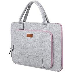 Ropch 15,6 Zoll Filz Sleeve Hülle Laptop Tasche für 15 - 15,6 Zoll Acer / Asus / Dell / HP / Lenovo - Grau / Rosa