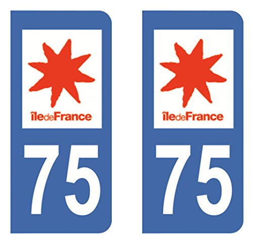 Paire Sticker immatriculation 75 - Paris