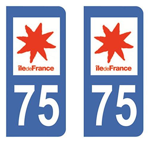 Paire Sticker immatriculation 75 – Paris Acheter en ligne