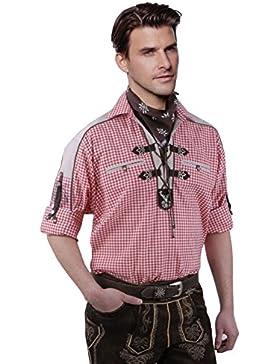 Moschen-Bayern Best-Quality Trachtenhemd Herren Karo Kariert Langarm Kurzarm Reine Baumwolle Schlupfhemd - Rot