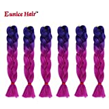 6 Packs Eunice Hair Jumbo Flechten Hair Extensions Colorful Kunsthaar Kanekalon Haar für Heimwerker Crochet Box Zöpfe Ombre Lila 2Tone Color 100 g/pcs 61 cm (ombre purple)