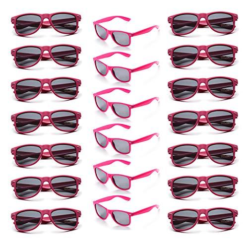 Onnea 20 Stück Party Favors 80's Sonnenbrille UV400 Schutz für Damen Herren (20 Pink)