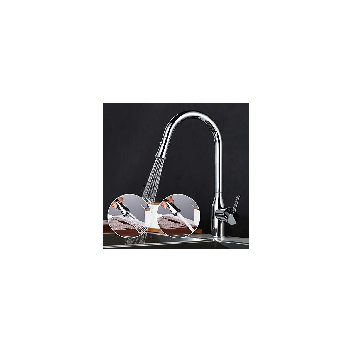 510a2eOBShL. SS1200  - DESFAU 2 funciones Grifo de cocina 360° Giratorio Grifo de Fregadero Extraíble Monomando de Fregadero Grifería cocina Agua Fría y Caliente Cromado