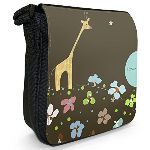Balancierende Tiere Kleine Schultertasche aus schwarzem Canvas Balancierende Giraffe
