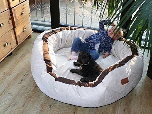 tierlando® LA4-05 LANA Hundesofa Hundebett VELOURS MEGA DICK gepolstert Gr. L 100cm CREME