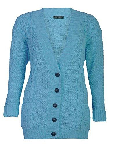 FASHION CHARMING pour femme à manches longues et à boutons pour femme Maille épaisse torsadée irlandaise Hanger Cardigan en tricot pour femme Turquoise
