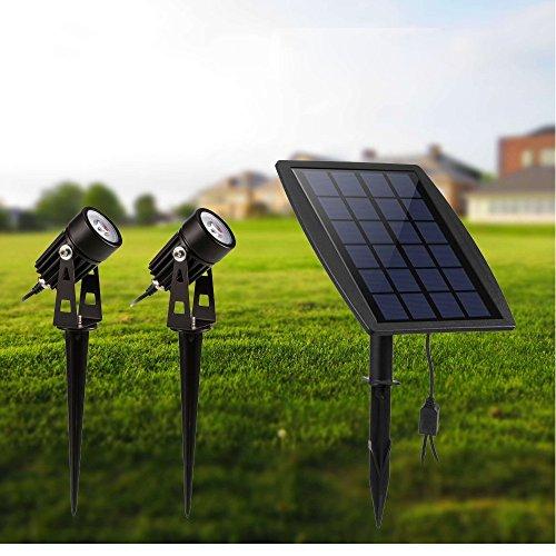 Solarleuchten Garten, Solar LED Strahler Außen, 2 Stücke 3000K Warmweiß, IP65 Wasserdicht, 3W 250LM für Outdoor Rasen Hof Veranda Terrasse Weg