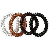 Lot de 4 Elastiques Cheveux en Silicone - Noir, Transparent, Marron - Aspect Fil Téléphone - Accessoires Attacher Cheveux