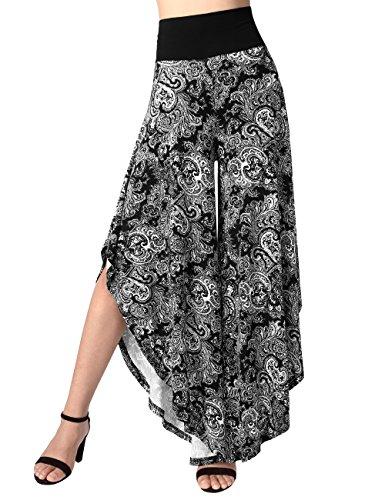 BaiShengGT Pantalon Large ¨¤ Jambes et Fluides pour Femmes 3/4 Long Jupe-Pant Palazzo Noir-Fleur M