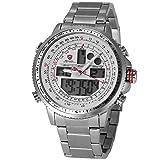 Winghead Shark Sport Quarz Uhren Armbanduhr Herren Edelstahl LCD Datumsanzeige Stoppfunktion SH329N