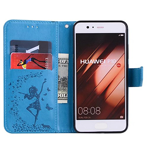 Abnehmbare 2 in 1 Crazy Horse Texture PU Ledertasche, Fairy Girl Embossed Pattern Flip Stand Case Tasche mit Lanyard & Card Cash Slots für Huawei P10 Plus ( Color : Blue ) Blue