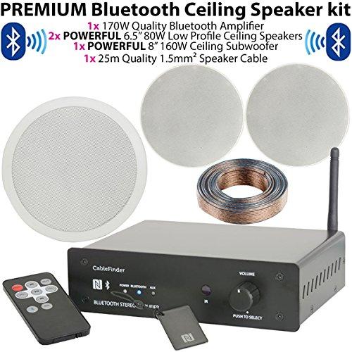 Premium Low Profile Deckenleuchte Lautsprecher & 160W Deckenleuchte Subwoofer/Sub System–Bluetooth/Wireless Home Cinema Audio-Hifi-Verstärker–Bar/Restaurant 2.1Surround Sound, Cablefinder