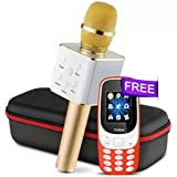 Akshat Q7 Bluetooth Wireless Karaoke Mike For With All Smart Phones (Gold)
