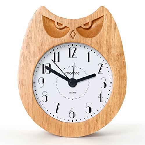 mamre Analog Holz Wecker Retro Uhr mit Dial Alarm Vintage Kunst Dekoration Dauerhafter Hölzerner Wecker ohne Ticken (Wütende Eule)