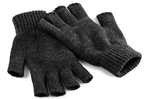 Beechfield Sin Dedos Guantes Gris gris oscuro Large