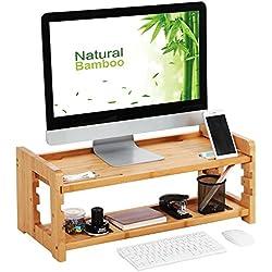 SONGMICS Verstellbarer Monitorständer aus Bambus, Schreibtisch Organizer, Computer/Laptop Erhöhung mit Regal für Zubehör, 64 x 29 x 25 cm, natürliche Maserung LLD303N