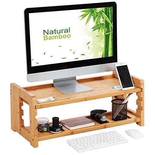 SONGMICS Supporto per Monitor in bambù Naturale per Scrivania con Vani Portaoggetti...