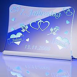 """LED Acrylglas Schild""""Jahrestag"""", 30x20 cm, mit persönlicher Laser Gravur (blau)"""
