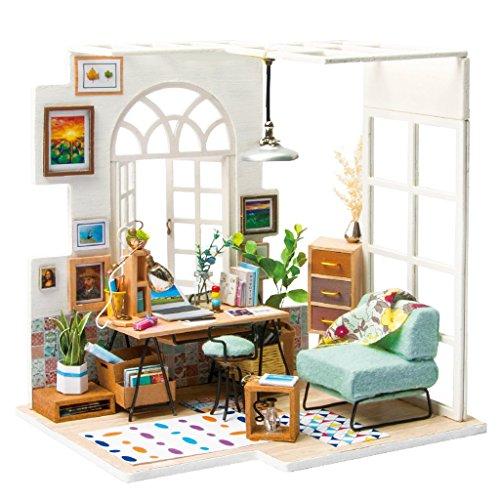 TWL Kinder Puppenhaus Kit - Mini Studio Suite - 3D Puzzle - Flash LED Licht Spielzeug - Home DIY für Junge Mädchen Geschenk Abdeckung -