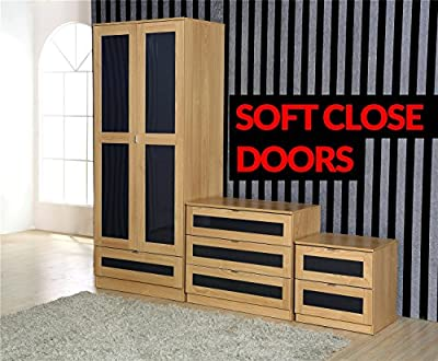Mito PREMIUM High Gloss 3 Piece Bedroom Furniture Set - 1 Drawer Wardrobe, 3 Drawer Chest, 2 Drawer Bedside Cabinet - low-cost UK light shop.