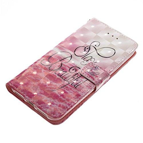 EUWLY Cover Case in Premium PU Pelle Protettiva Portafoglio Custodia per iPhone X, Bling Brillante 3D Dipinto Pattern Disegno PU Leather Wallet Custodia Support Slot Shell Cover Protettiva Stand Case  Nubi Rosa