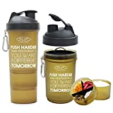 #8: Sinew Nutrition All In One Smart Shaker Bottle 600ml - 20 oz (Brown/Black)
