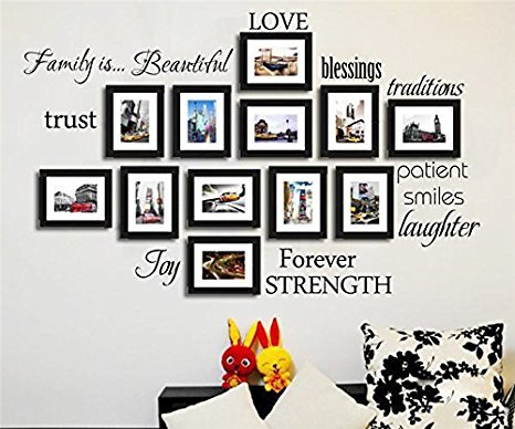 Wandtattoo Familie By BDECOLL-Nr 12 Wortwolke Sprüche Aufkleber Wandsticker( Familie,Paient,Liebe,Schon und Vertrauen als Wanddeko Wand-tragen Abnehmbare Aufkleber