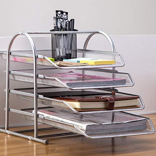 Crown 4-stufiges Ablagefach für den Schreibtisch, Zeitungsständer, Zeitungsständer, Bücherregal, Aktenbox, Aufbewahrungsclip aus Metall, Eisennetz für den Office Home Organizer (Datei Schublade Bücherregal)