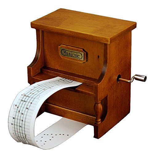 Antique Vintage Wooden Music Box Musical Piano, DIY Make Yr Own Song Include a Punch and 3 Music Papers, 1 Has Musical Note and 2 Are Blank and You Can Create Your Own Song by Laxury
