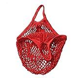Trada Einzelne Schulter Tasche, Stilvolle Tragbar Wiederverwendbar Mesh Net Schildkröte Tasche String Einkaufstasche Obst Lagerung Handtasche Totes Einkaufstasche für Frauen (Rot)