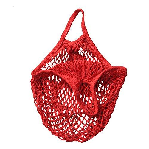 Barkoiesy Tragbare und praktische Einkaufstasche Mesh Net Turtle Bag String Einkaufstasche Wiederverwendbare Obst Aufbewahrungstasche Totes Neu (one size, Rot)