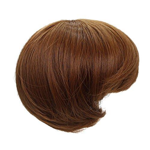 Sharplace Kurze Bob Puppenperücke Haarteil Für 18 Zoll Mädchen Puppen DIY Herstellung Zubehör - Braun, Länge: 14cm