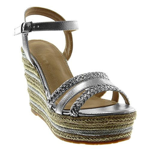 Angkorly Chaussure Mode Sandale espadrille ouverte plateforme femme tréssé corde Bicolore Talon compensé plateforme 11 CM Argent