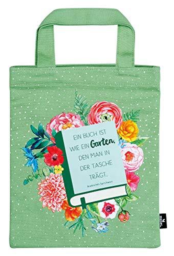 moses. libri_x Büchertasche Garten | Tragetasche aus 100% Baumwolle | Für Buchliebhaber Sporttasche, 24 cm, Grün -