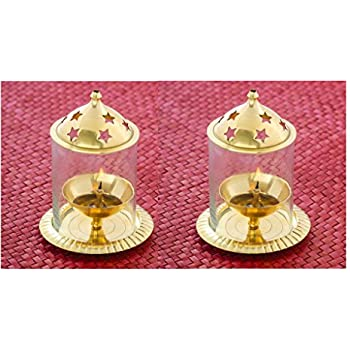 Frestol Brass Udupi Jyot (8.5 cm x 8.5 cm x 12.5 cm, Golden, Set of 2)