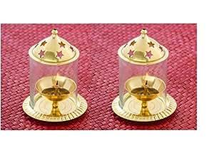 Frestol Brass Udupi Jyot (8.5 cm x 8.5 cm x 12.5 cm, Golden, Set of 2)