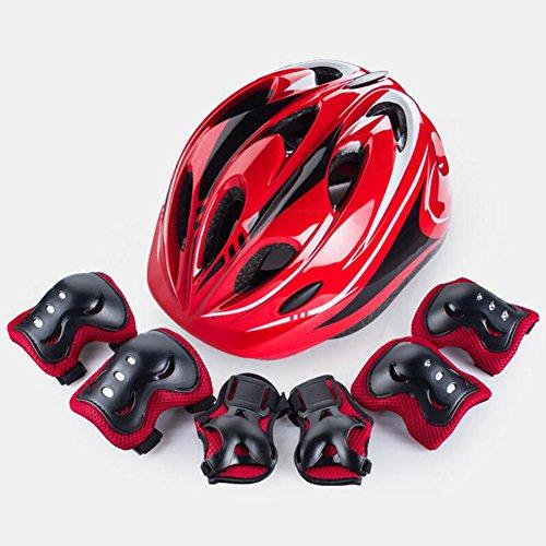 WX xin Skating Schutzausrüstung Kind Fahrrad Helm Voller Anzug Skateboard Eislaufen Bewegung Knieschoner 7 Stück/Sätze (Farbe : Rot)