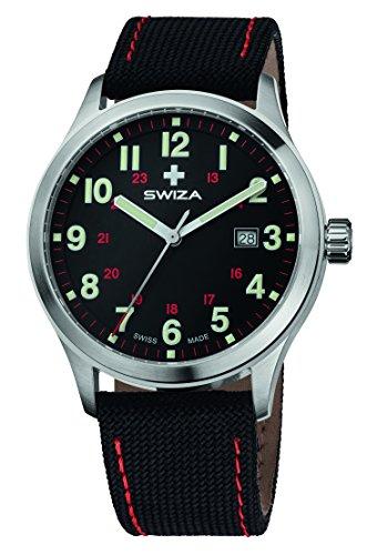 Preisvergleich Produktbild SWIZA Kretos Gent Quarzlaufwerk, Gehäuse Edelstahl 316L, Gebürstet Poliert, Stoff-Armband Luxus Uhr Made in Swiss, Mehrfarbig, One size