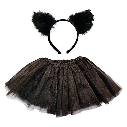 d Katze Ohren Party Kostüm Halloween Fancy Dress Up Set (Schwarze Katze Tutu Kostüm)