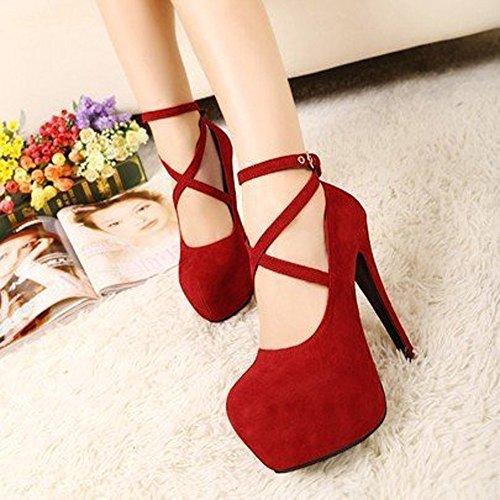 Longra Donna Croce Belt Buckle Super High Water interne scarpe impermeabili Rosso