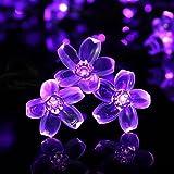 Qedertek Solar Lichterkette Außen, 7M 50 LED Blumen Lichterkette Lila Wasserdicht Beleuchtung für Weihnachten, Garten, Hochzeit, Party usw
