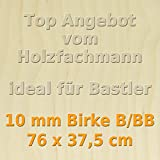 10mm Birke Sperrholzplatte Qualität B/BB (76 x 37,5cm) GP 45,58 €/m²