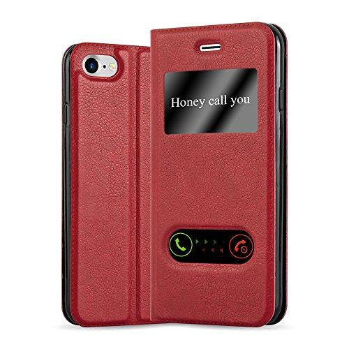 Preisvergleich Produktbild Cadorabo Hülle für Apple iPhone 7 / iPhone 7S / iPhone 8 - Hülle in Safran Rot – Handyhülle im Standfunktion und 2 Fenstern (View Design) - Case Cover Schutzhülle Etui Tasche Book Klapp Style