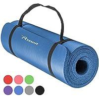 REEHUT Colchoneta de Yoga de NBR de Alta Densidad y Extra Gruesa de 12mm Diseñada para Pilates, Fitness y Entrenamiento/Correa Portátil(Azul)