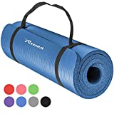 REEHUT Tappetino 12mm Yoga Pilates Fitness Allenamento Gomma NBR Espansa Alta Densità con Cinturino - Blu