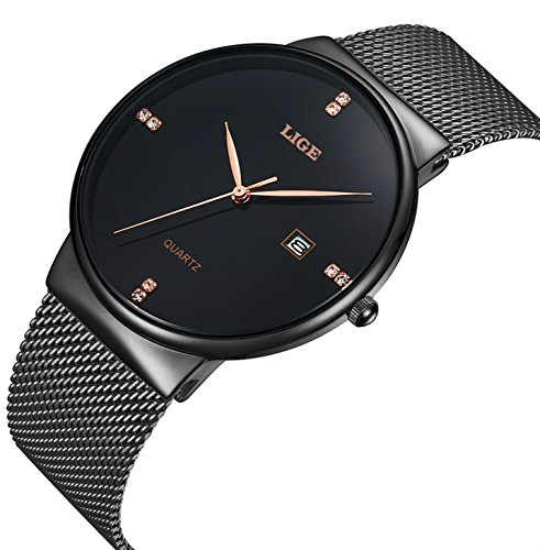 Mens-Stainless-Steel-Mesh-Bracelet-Watches-Men-Waterproof-Date-Calendar-Simple-Design-Analogue-Quartz-Watch-Gents-Business-Casual-Luxury-Dress-Black-Wrist-Watches-with-Black-Dial