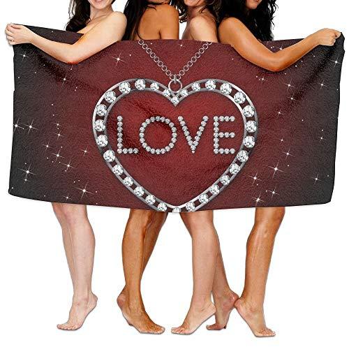 Anjoy Badetuch Strandtücher Love Heart Diamond Pendant Premium 100% Polyester Large Bath Towel, Pool and Bath Towel (32