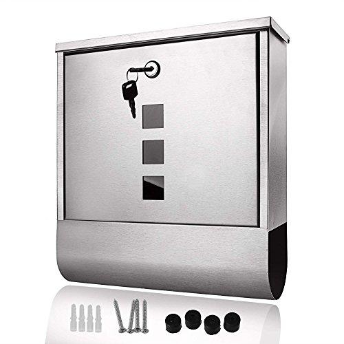 Coorun Briefkasten Silber Edelstahl mit integriertem Zeitungsfach Zeitungsbox Moderner Sichtfenstern abschließbar robust Briefkasten-Set 2 Schlüssel Schrauben Dübel (Silber)